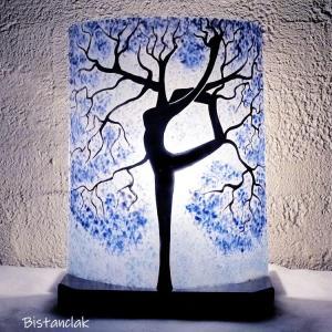 Lampe en verre motif arbre danseuse bleu clair 2