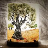 Lampe en verre motif olivier