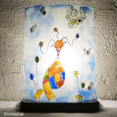 Lampe en verre multicolore et bleu motif globulle surrealiste