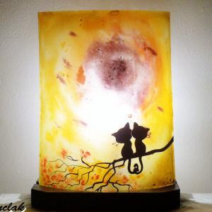 Lampe jaune orange motif deux chats enlaces vendue en ligne 1