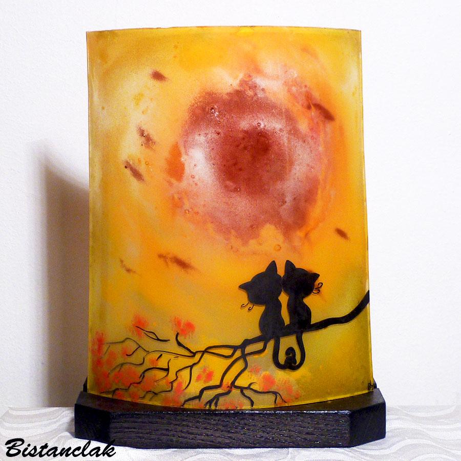 Lampe motif chat jaune orange