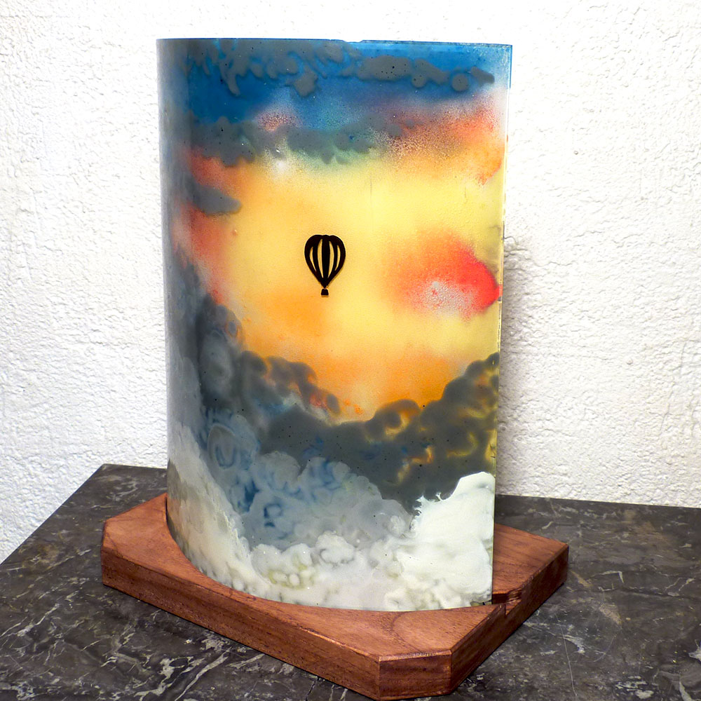 Lampe multicolore motif mongolfiere
