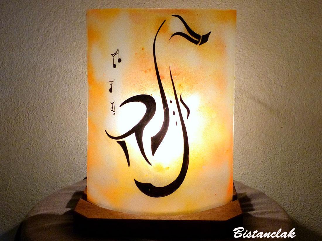 Lampe d'ambiance décorative jaune orange motif saxo