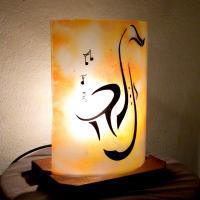 Lampe déco jaune orange motif saxophone