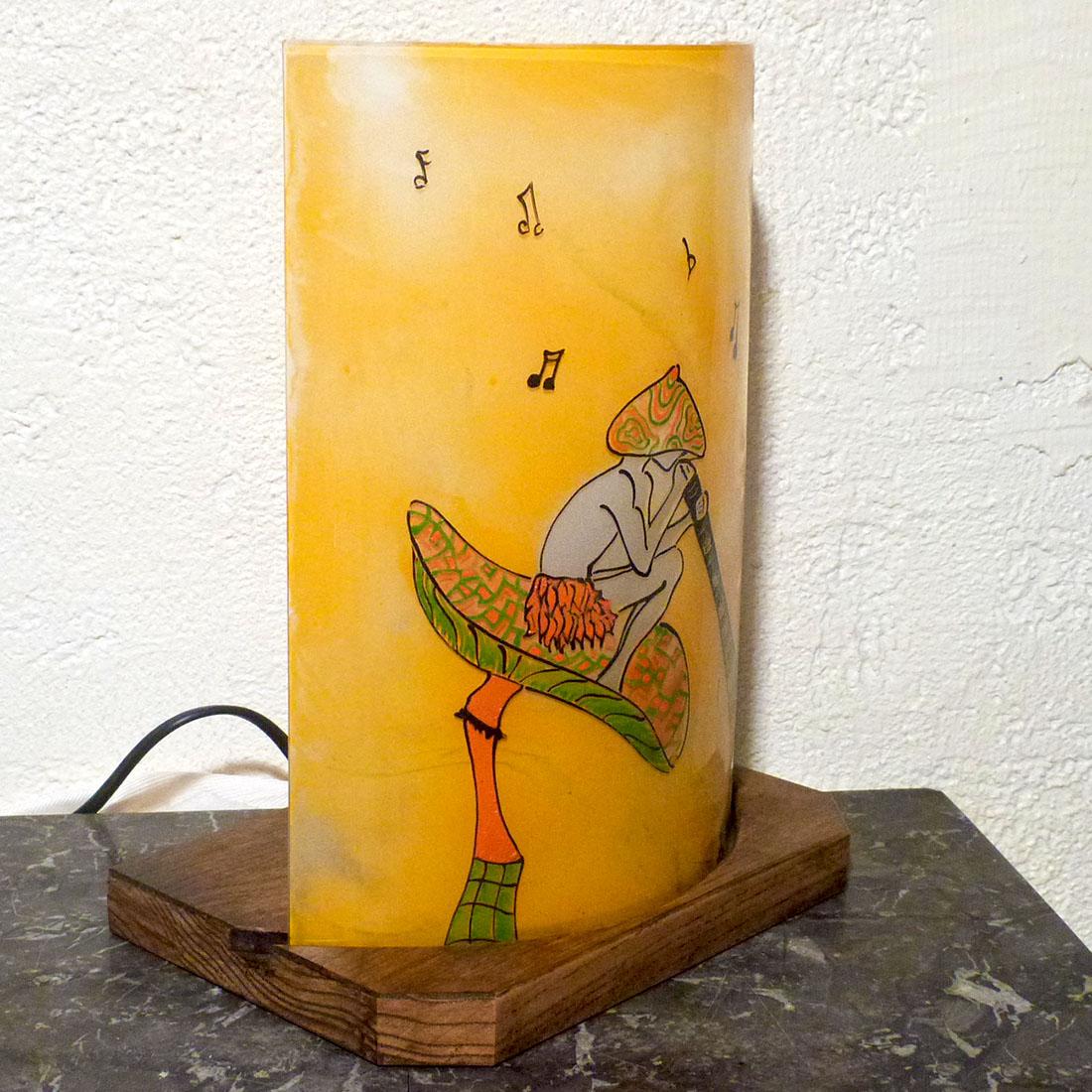 Lampe orange verte motif lutin au didj