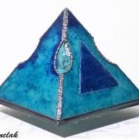 Lampe pyramide en verre bleu