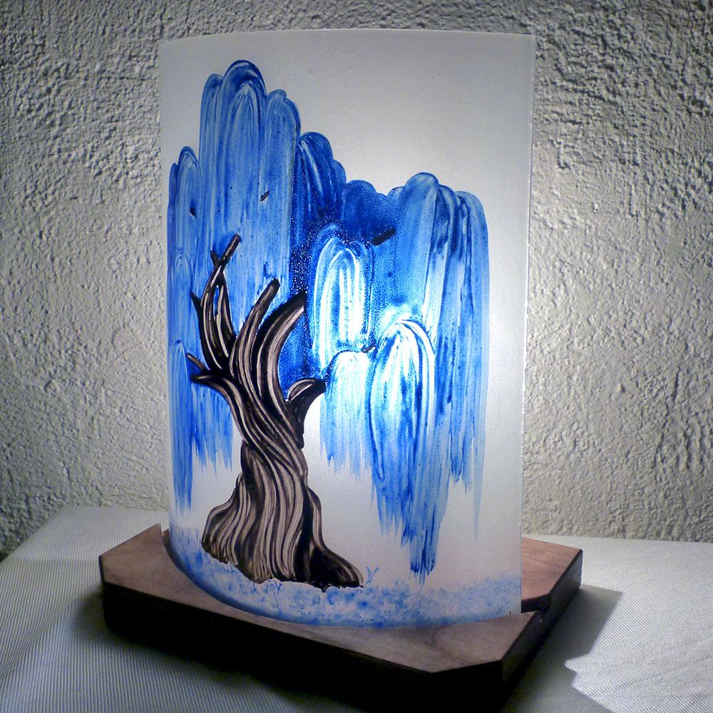 Lampe saule pleureur bleu cobalt 2