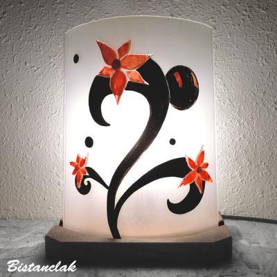 Lampe décorative blanche, noire et rouge Fleurs étranges
