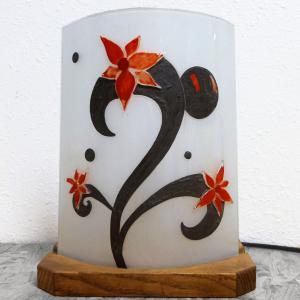 Lampe sur socle fleurs etranges