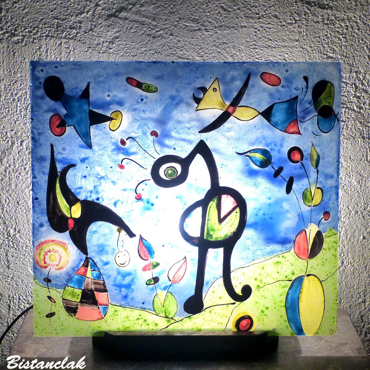 luminaire décoratif tableau lumineux au dessin du jardin de miro