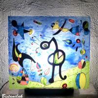Lampe tableau au dessin du jardin de miro vendu en ligne sur notre site une creation artisanale francaise