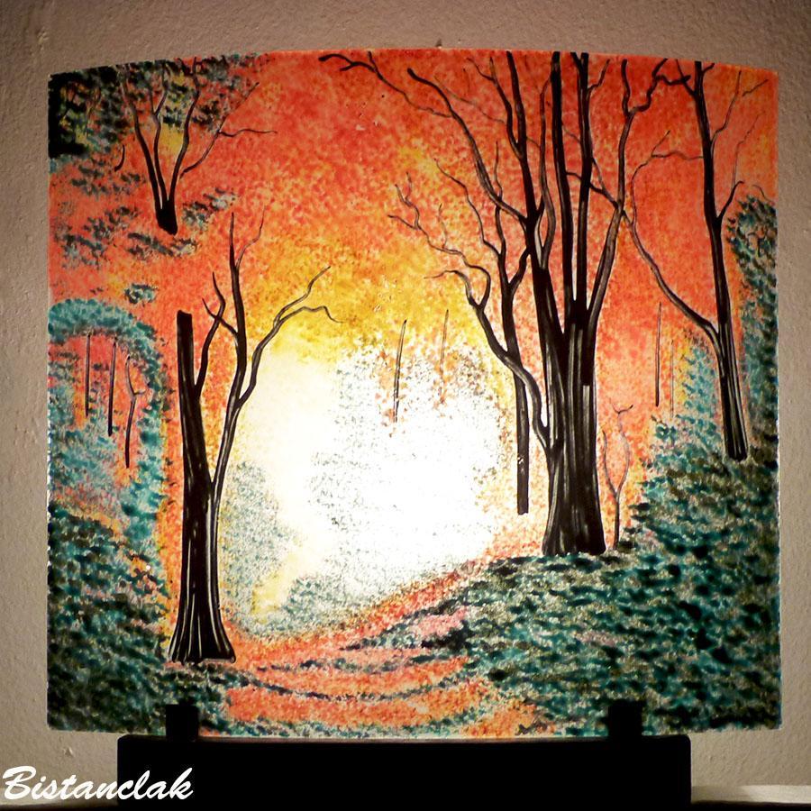 Lampe tableau lumineux motif foret d automne par bistanclak