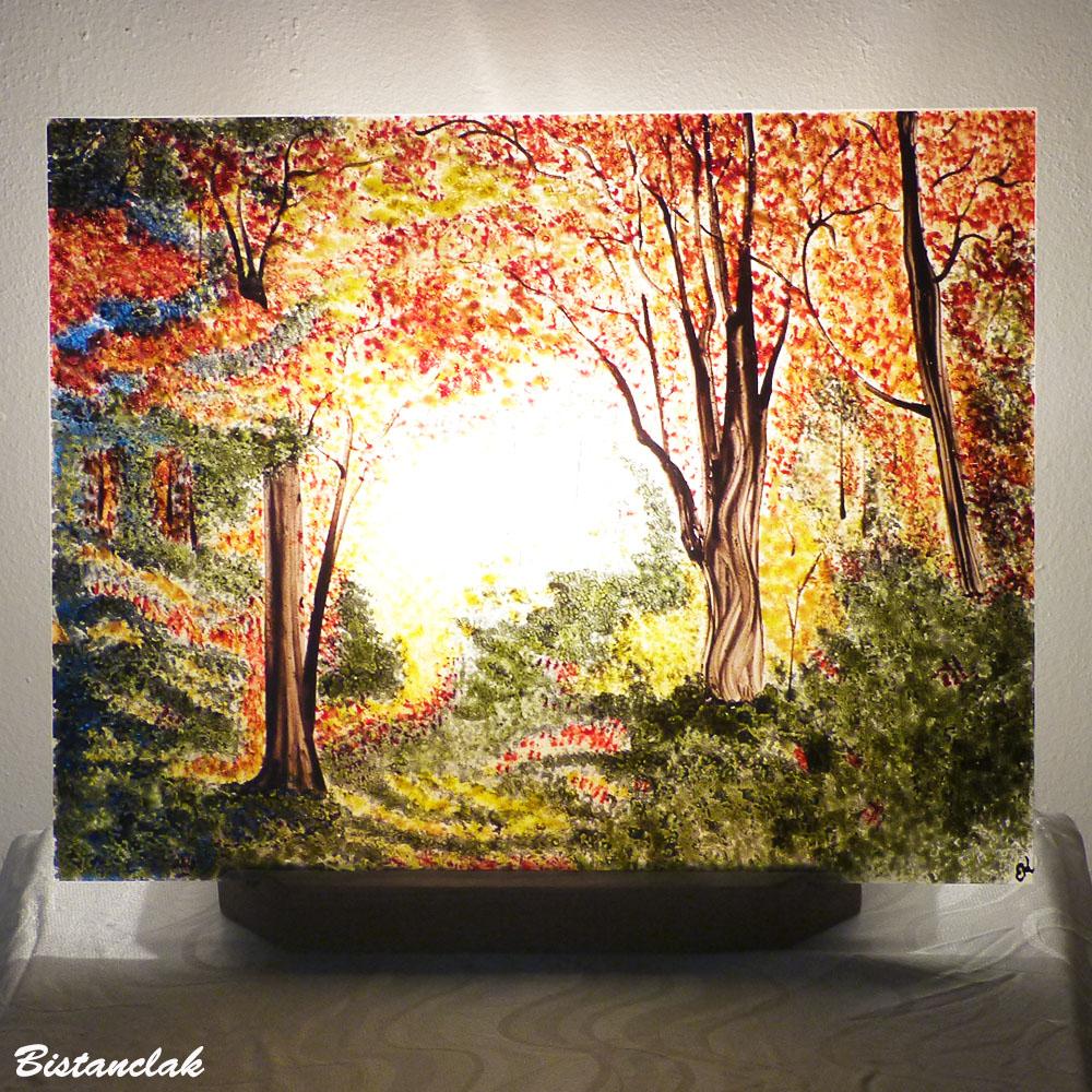 Lampe décorative plate motif foret d automne