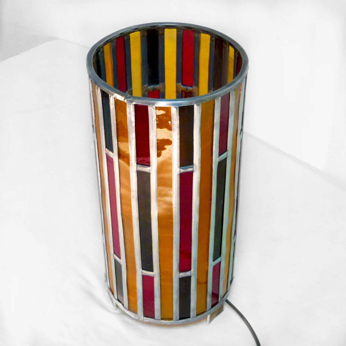Lampe vitrail cylindre ambre et rouge 4 1