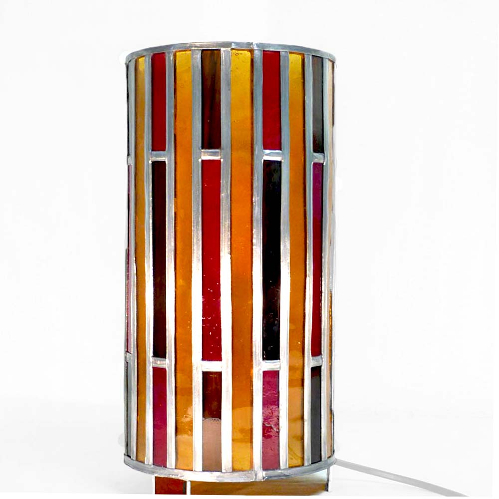 Lampe vitrail cylindre ambre et rouge 5 1
