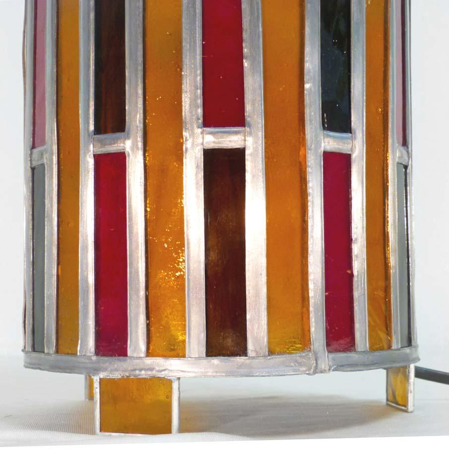 Lampe vitrail cylindre ambre et rouge 6 1