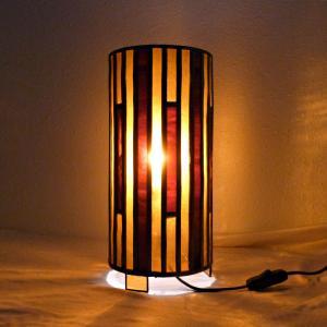 Lampe vitrail cylindrique ambre et rouge
