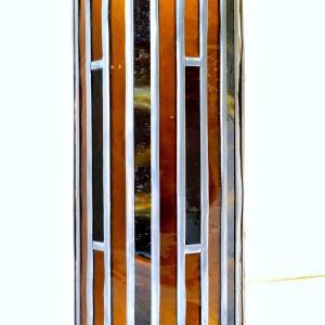 Lampe vitrail cylindrique ambre et rouge2