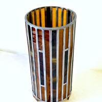 Lampe vitrail cylindrique ambre et rouge3