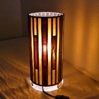 Lampe vitrail cylindrique ambre et rouge4