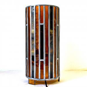 Lampe vitrail cylindrique ambre et rouge5