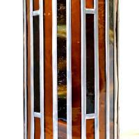 Lampe vitrail cylindrique ambre et rouge6