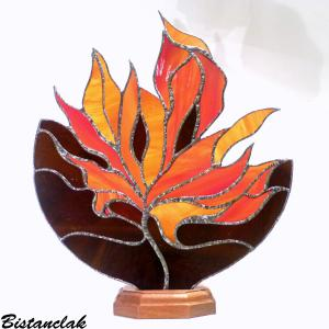 Lampe vitrail feuille d automne