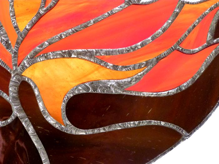 Lampe vitrail feuille d automne 2