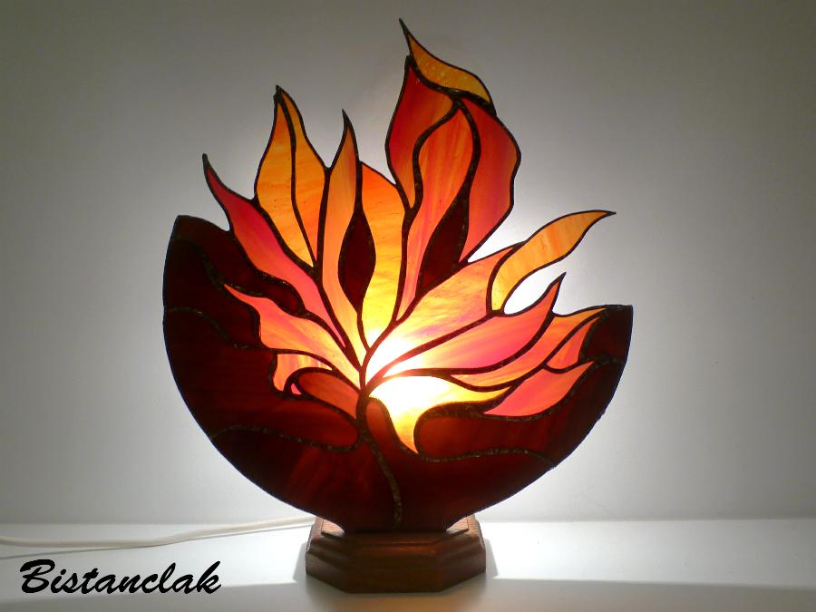 Lampe vitrail feuille d automne 4