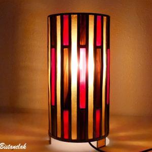 Lampe vitrail forme cylindre rouge ambre et brun 2