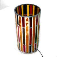 Lampe vitrail forme cylindre rouge ambre et brun