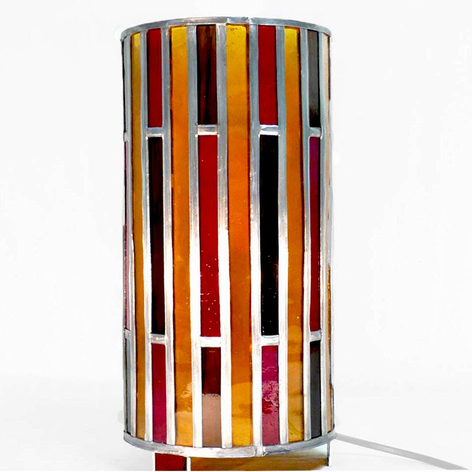 Lampe vitrail forme cylindre rouge ambre et brun 5