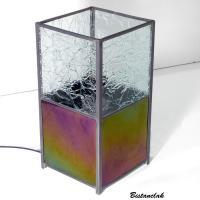 Lampe vitrail iridescent et froisse incolore 10