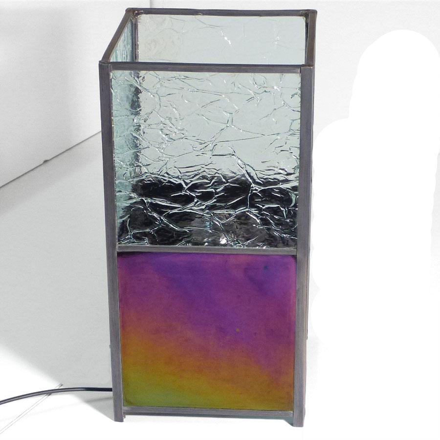 Lampe vitrail iridescent et froisse incolore 11