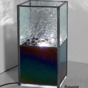 Lampe vitrail iridescent et froisse incolore 3