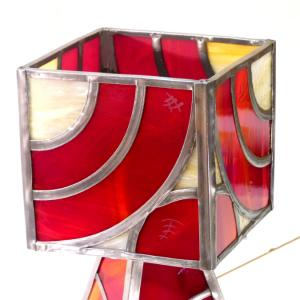 Lampe vitrail rouge arc de cercle 10