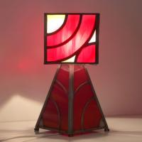 Lampe vitrail rouge et ambre