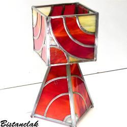 lampe vitrail rouge et beige