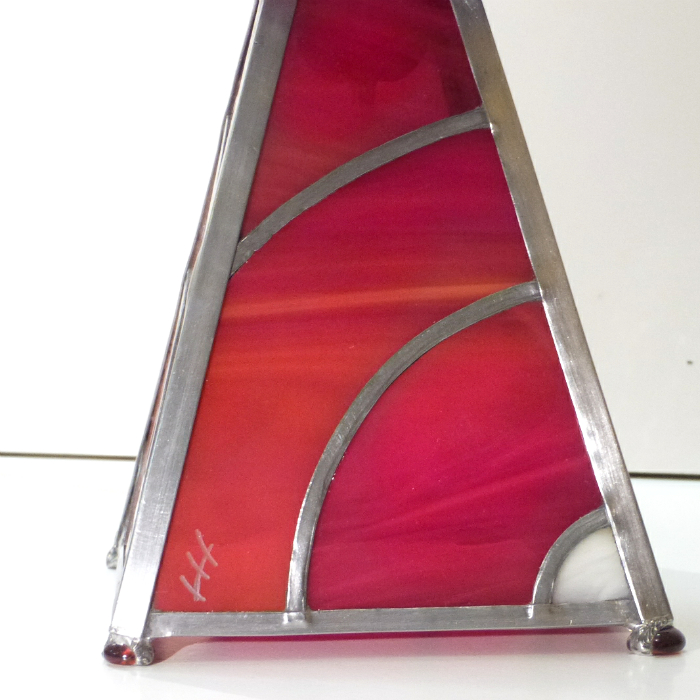 Lampe vitrail rouge arc de cercle 5