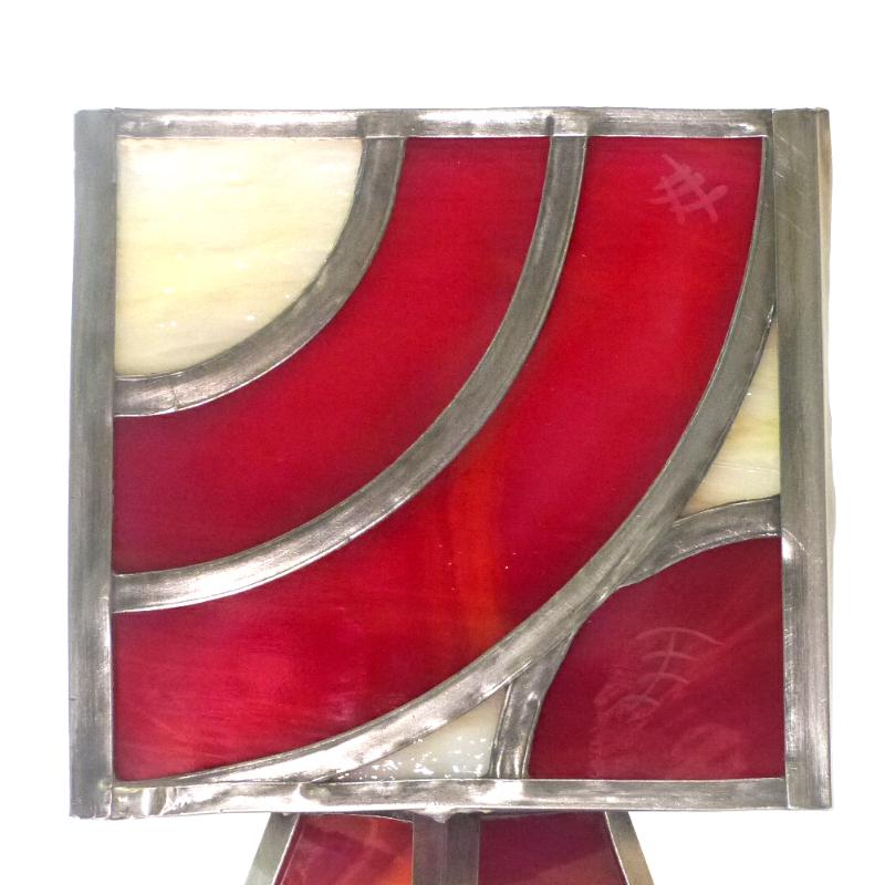 Lampe vitrail rouge arc de cercle 6
