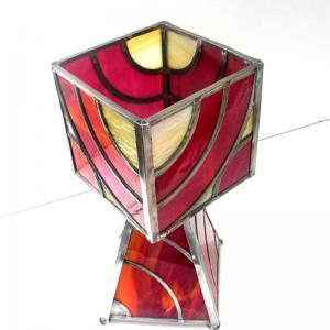 Lampe vitrail rouge arc de cercle 7