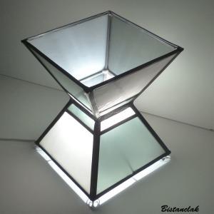 Lampe vitrail sablier noir et blanc 1