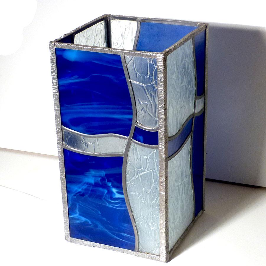 Lampe vitrail vague bleu 10