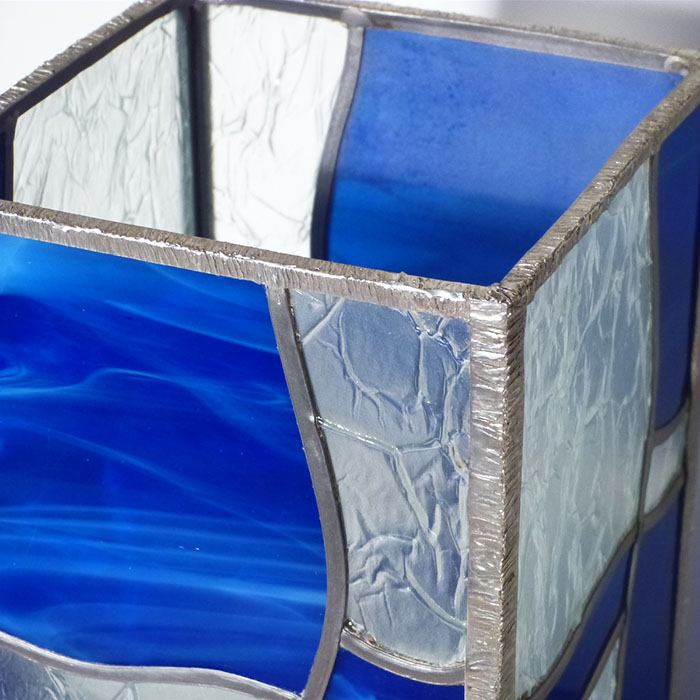 Lampe vitrail vague bleu 11