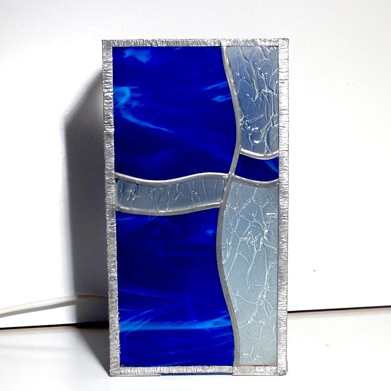 Lampe Vitrail Rectangulaire Vague Bleu Et Incolore Froisse