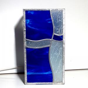 Lampe vitrail vague bleu 13