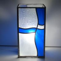 Lampe vitrail vague bleu 2
