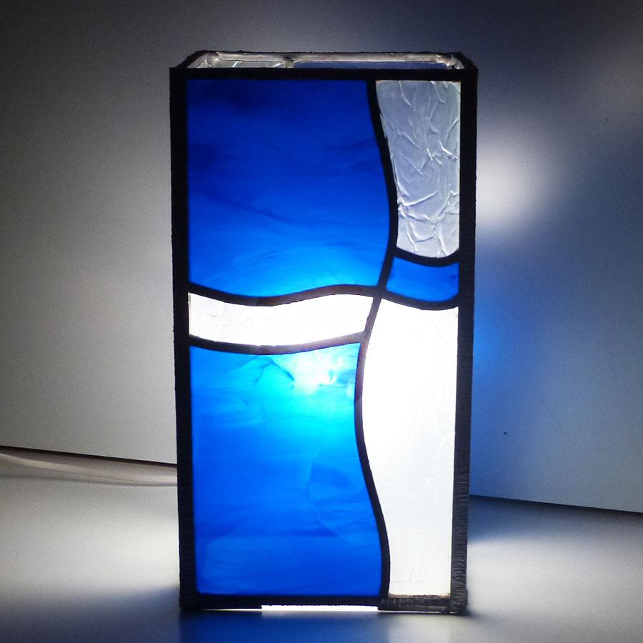Lampe vitrail vague bleu 3