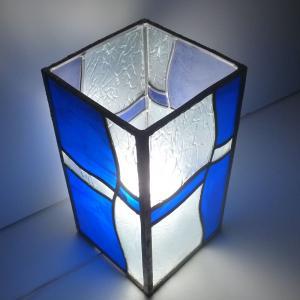 Lampe vitrail vague bleu 6