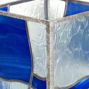 Lampe vitrail vague bleu 7